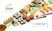 Isometric sushi food collection with sashimi rolls of different types spices seaweed sauces wasabi chopsticks vector illustration
