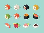 Isometric sushi icons on blue background for other sushi categories.
