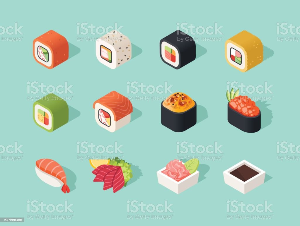 Isometric sushi icons vector art illustration