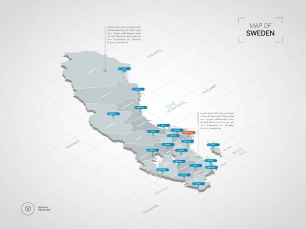 bildbanksillustrationer, clip art samt tecknat material och ikoner med isometrisk sverige karta med ortsnamn och administrativa indelning. - sweden map