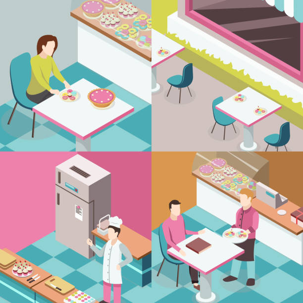 ilustrações de stock, clip art, desenhos animados e ícones de isometric sweet shop 2x2 - kitchen counter