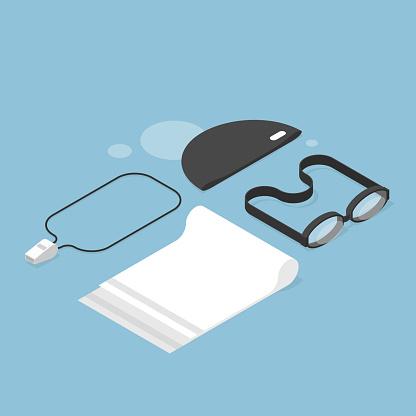 Isometric Swimming Concept Illustration