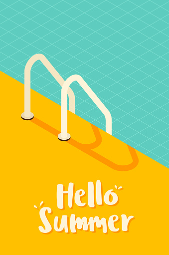 Isometric swimming pool vintage retro style background. Summer poster template design. vector illustration