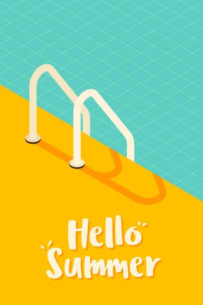illustrations, cliparts, dessins animés et icônes de fond rétro de style rétro de piscine isometric - piscine