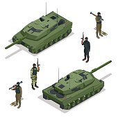Tank and soldiers. Vector isometric illustration. Flat 3d isometric high quality military vehicles machinery transport