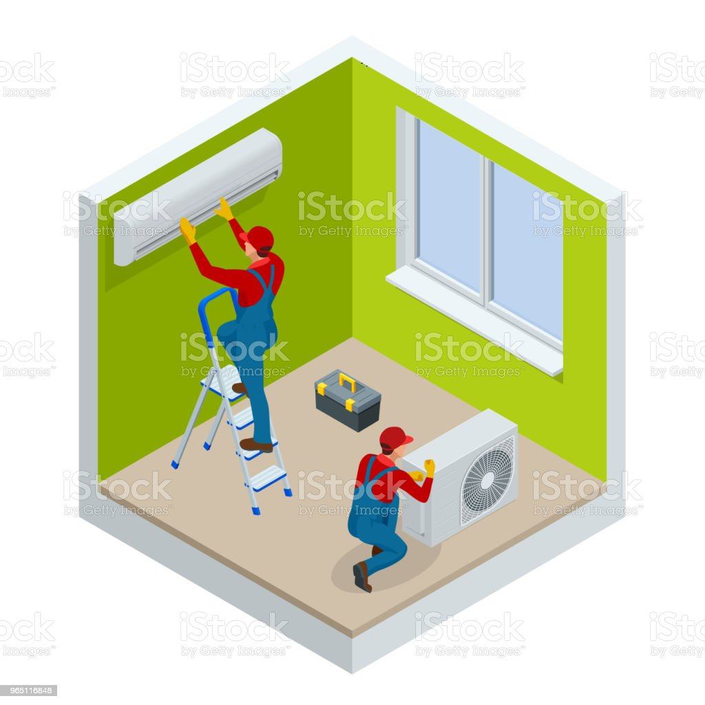 Isometric technician repairing split air conditioner on a white wall. Construction building industry, new home, construction interior. Vector illustration vector art illustration