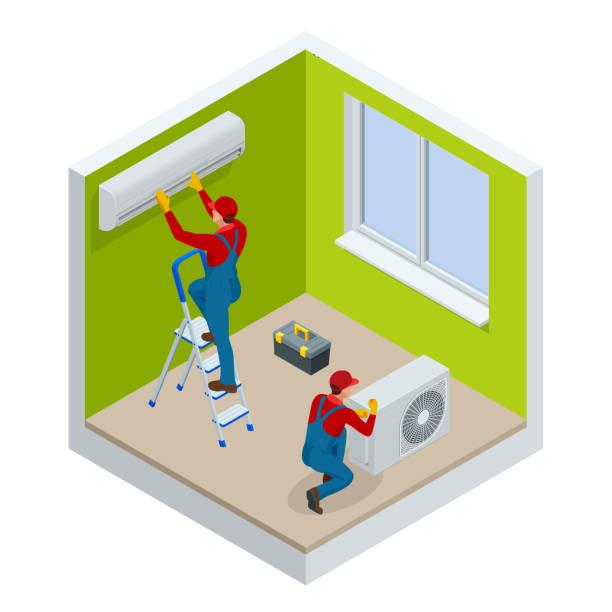 ilustrações, clipart, desenhos animados e ícones de isométrico técnico de reparação de condicionador de ar rachado em uma parede branca. construção, construção, indústria, casa nova, construção interior. ilustração vetorial - ar condicionado
