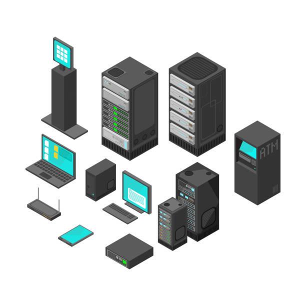 stockillustraties, clipart, cartoons en iconen met isometrische technologie en bancaire pictogrammen. platte vectorillustratie - netwerkserver