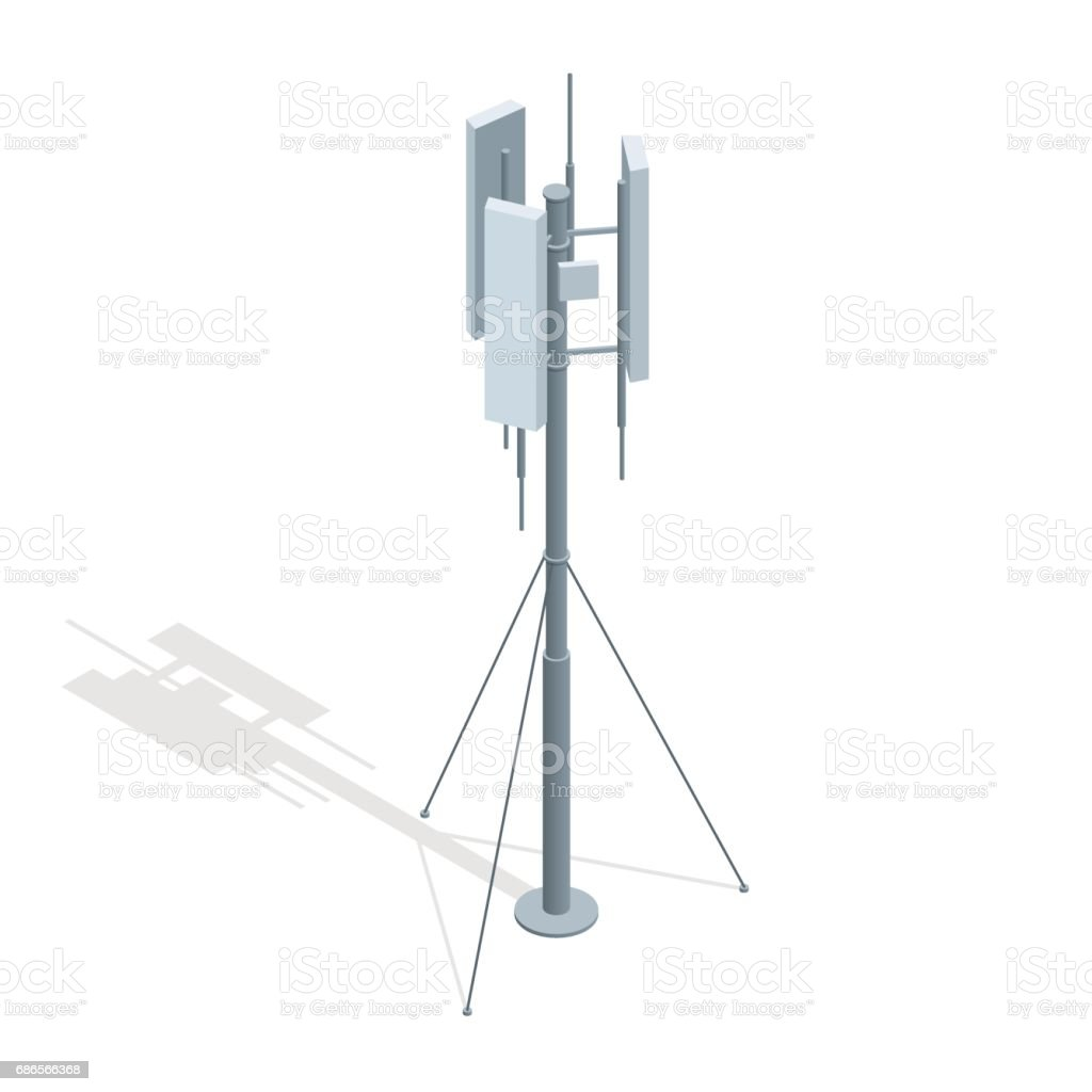 Isometric Telecommunications towers. A mobile phone communication repeater antenna vector flat illustration. Isometric Telecommunications towers. A mobile phone communication repeater antenna vector flat illustration Aerial View stock vector