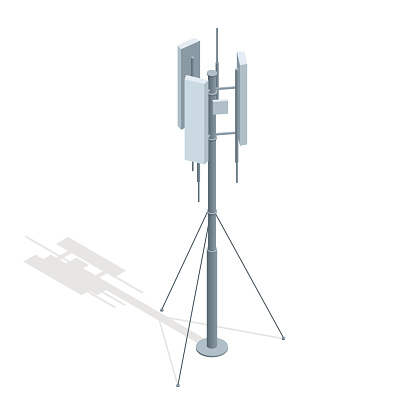 Isometric Telecommunications towers. A mobile phone communication repeater antenna vector flat illustration.