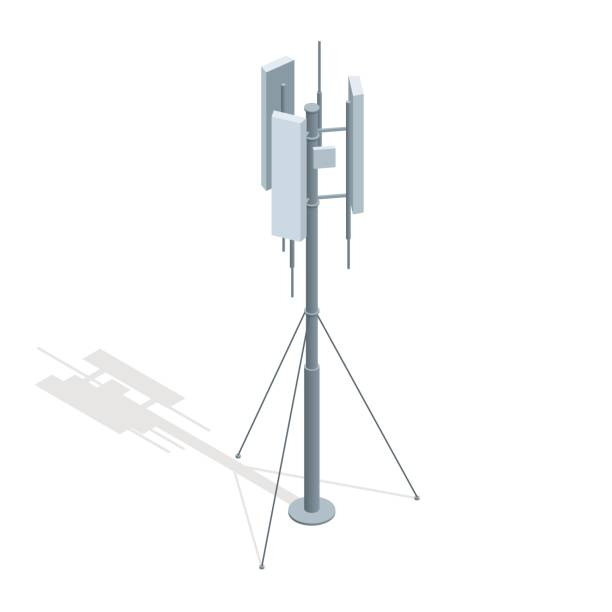 Isometric Telecommunications towers. A mobile phone communication repeater antenna vector flat illustration. Isometric Telecommunications towers. A mobile phone communication repeater antenna vector flat illustration repeater tower stock illustrations