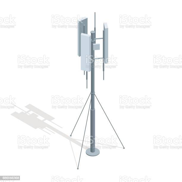 Isometric Telecommunications Towers A Mobile Phone Communication Repeater Antenna Vector Flat Illustration Stock Illustration - Download Image Now