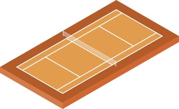 isometrischer tennisplatz - wimbledon stock-grafiken, -clipart, -cartoons und -symbole