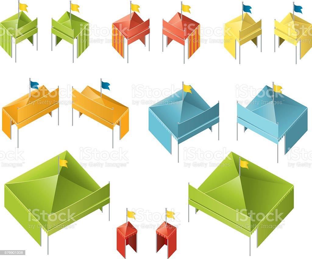 Isometric Tents vector art illustration
