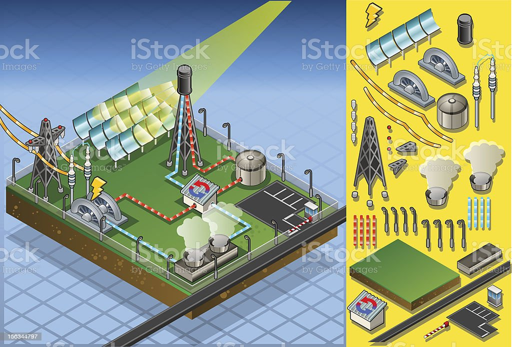 isometric termo solar plant in production of energy vector art illustration