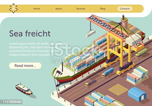 Isometric Banner Representing Sea Freight. Water Transport in Port Vector 3d Illustration. Steel Container Loading on Industrial Ship by Crane. Mockup with Place for Advertising Text. Cargo Logistics