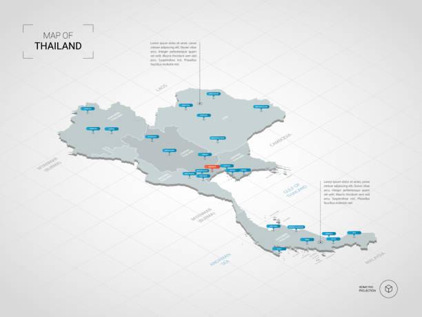 izometryczna mapa tajlandii z nazwami miast i podziałami administracyjnymi. - tajlandia stock illustrations