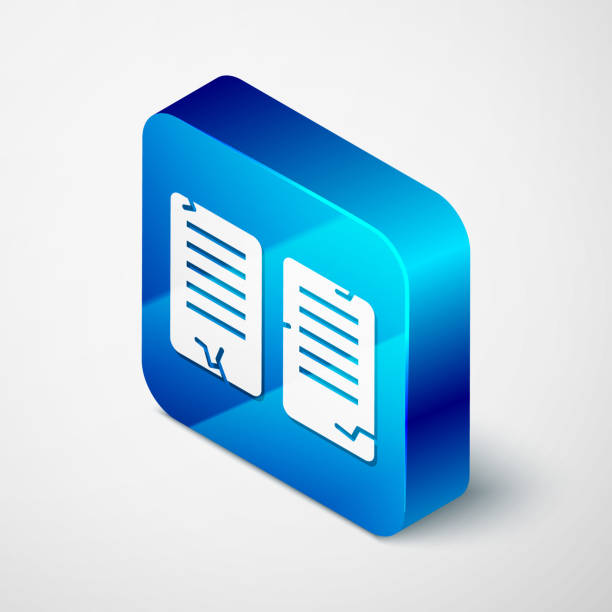 Isometric The commandments icon isolated on grey background. Gods law concept. Blue square button. Vector Illustration Isometric The commandments icon isolated on grey background. Gods law concept. Blue square button. Vector Illustration moses religious figure stock illustrations