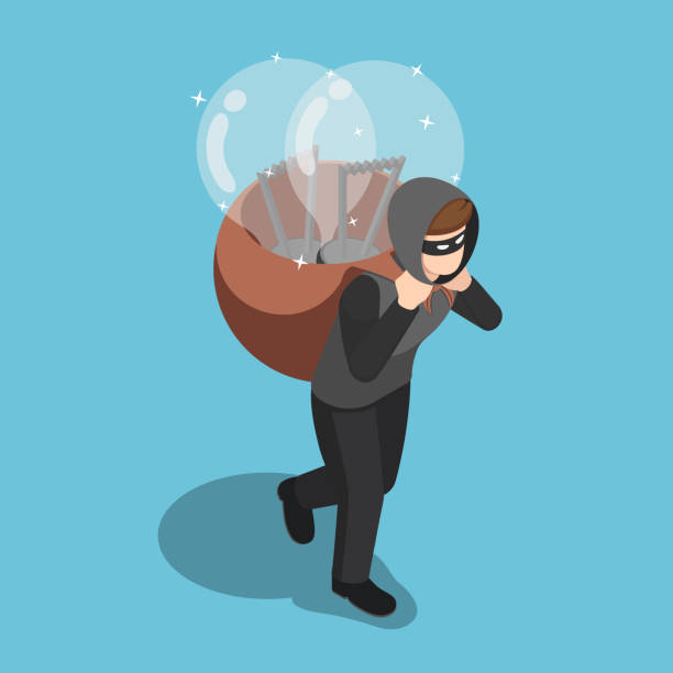 Isometric thief stolen light bulb of idea and carrying on his back vector art illustration