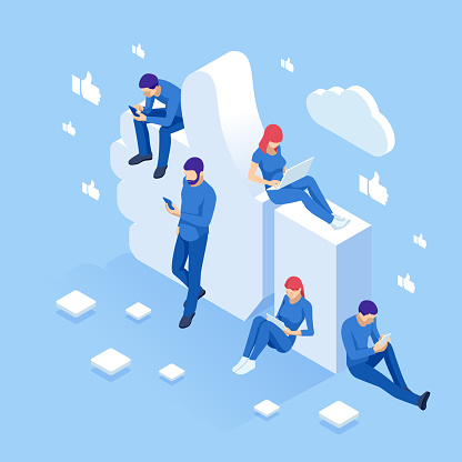 Isometric thumbs up like social network concept. Blogging, online messaging, social networking services. Young people using mobile gadgets such as laptop, tablet pc, smartphone for social networking
