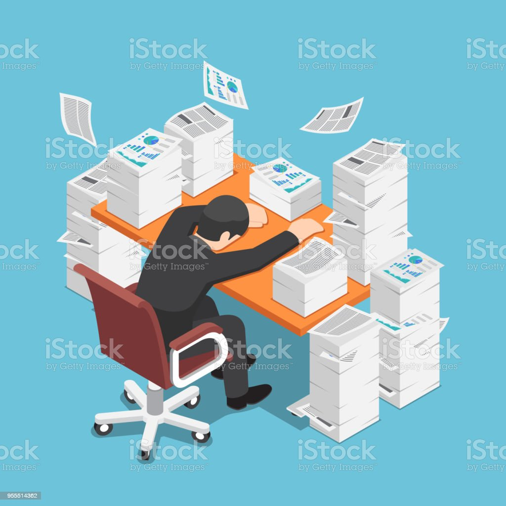 Isometric tired businessman asleep at office desk with the pile of paper document vector art illustration