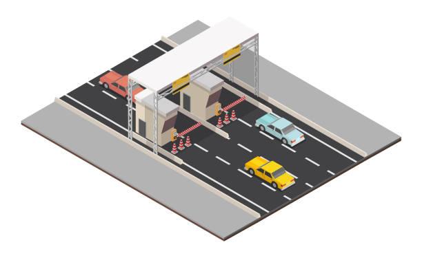 isometrische mautentrichtung straße landschaft checkpoint. - geldstrafe stock-grafiken, -clipart, -cartoons und -symbole