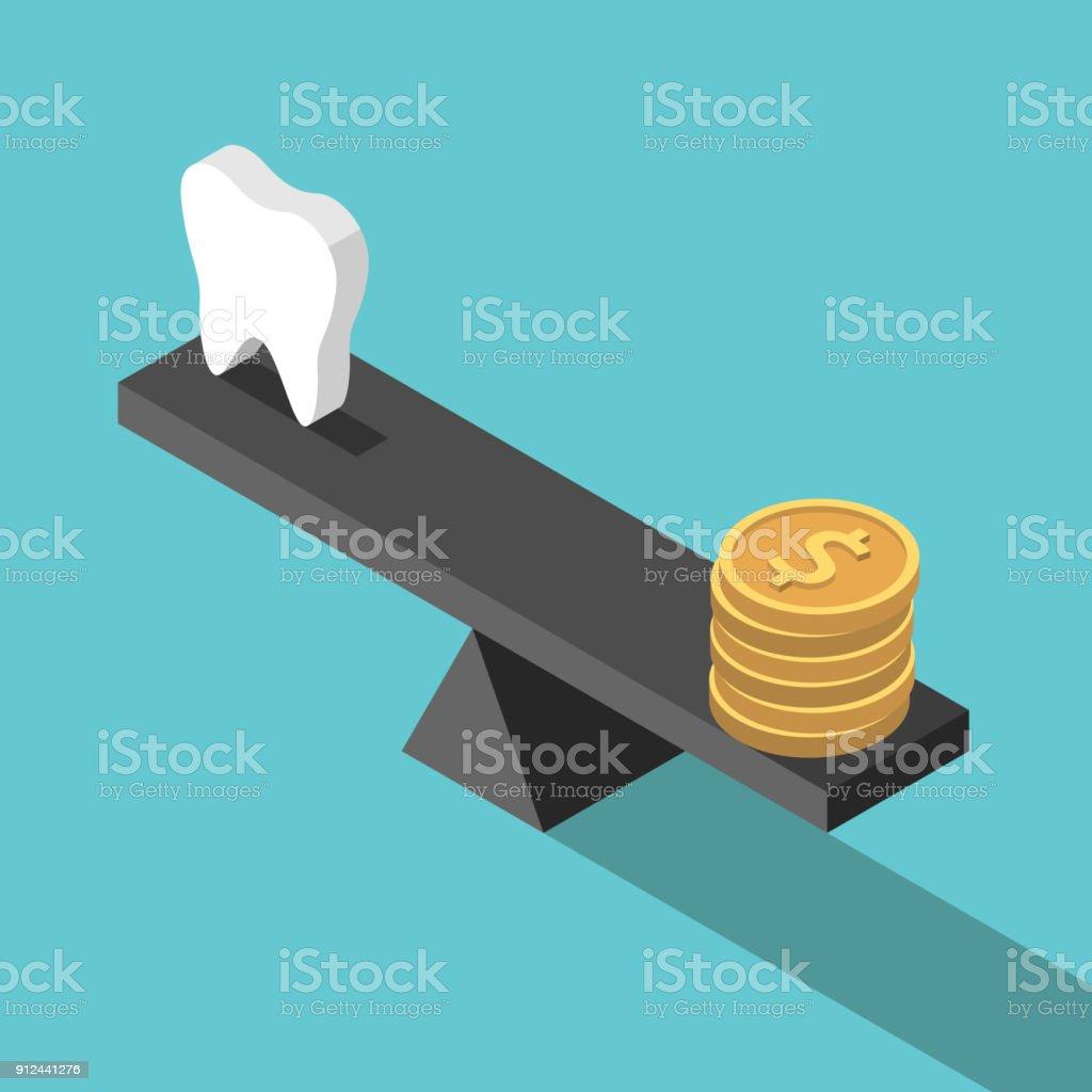Isometrische Zahn, Geld, Gleichgewicht – Vektorgrafik
