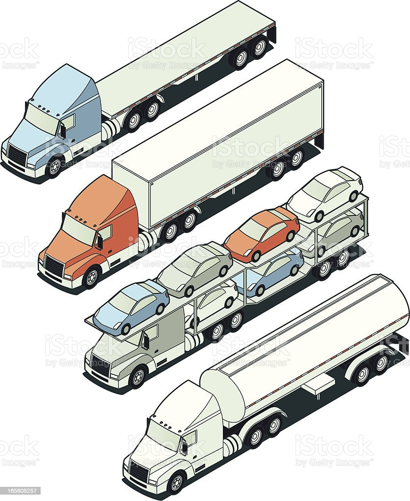 Isometric Tractor Trailer Trucks royalty-free isometric tractor trailer trucks stock vector art & more images of blank