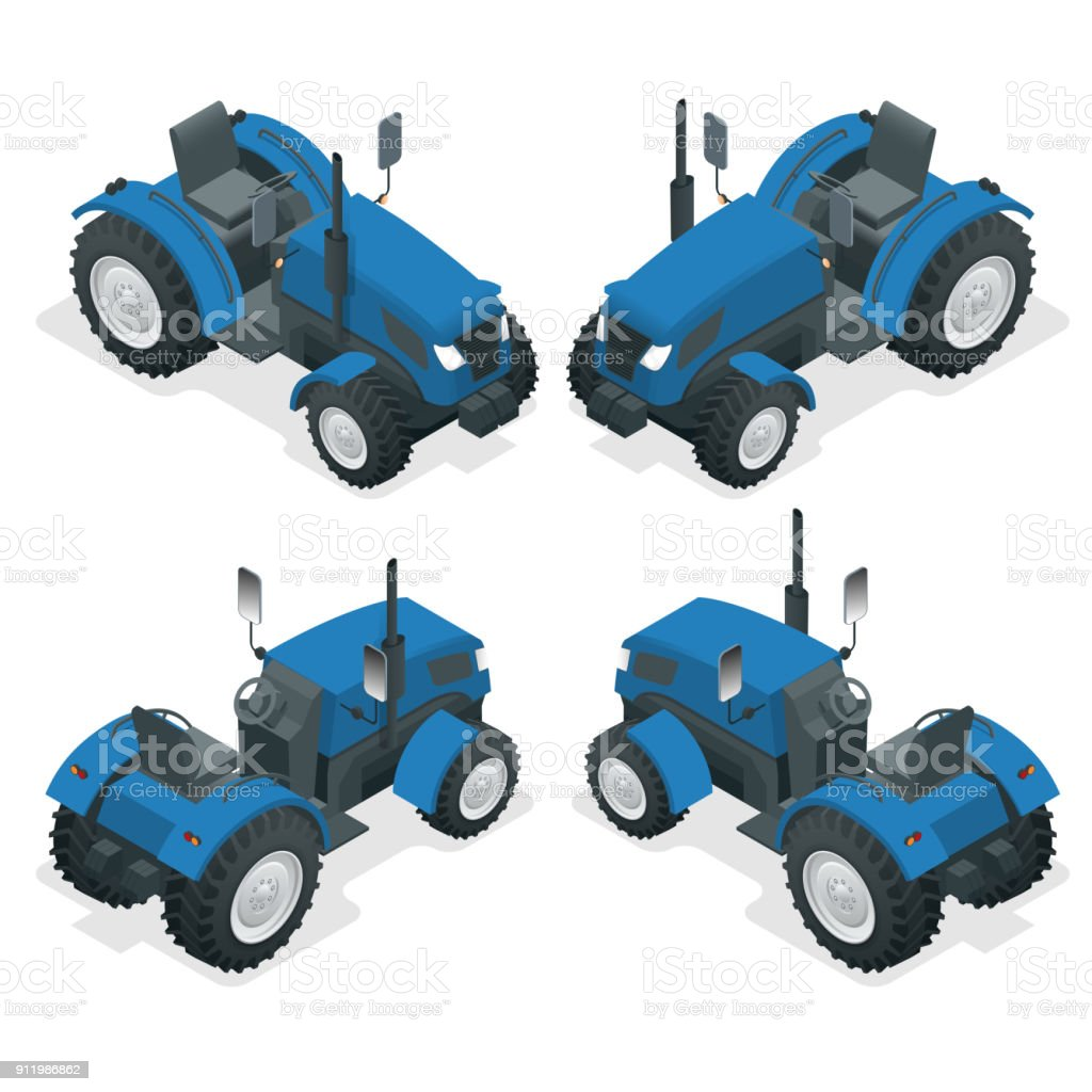 Isometric Tractor works in a field. Agriculture machinery. Plowing in the field. Heavy agricultural machinery for fieldwork. Vector illustration. vector art illustration