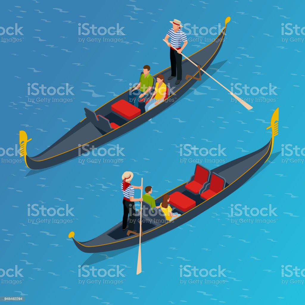 Isometric Traditional Gondola. Gondola with gondolier and tourists in Venice, Italy Travel. Italian man profession vector art illustration