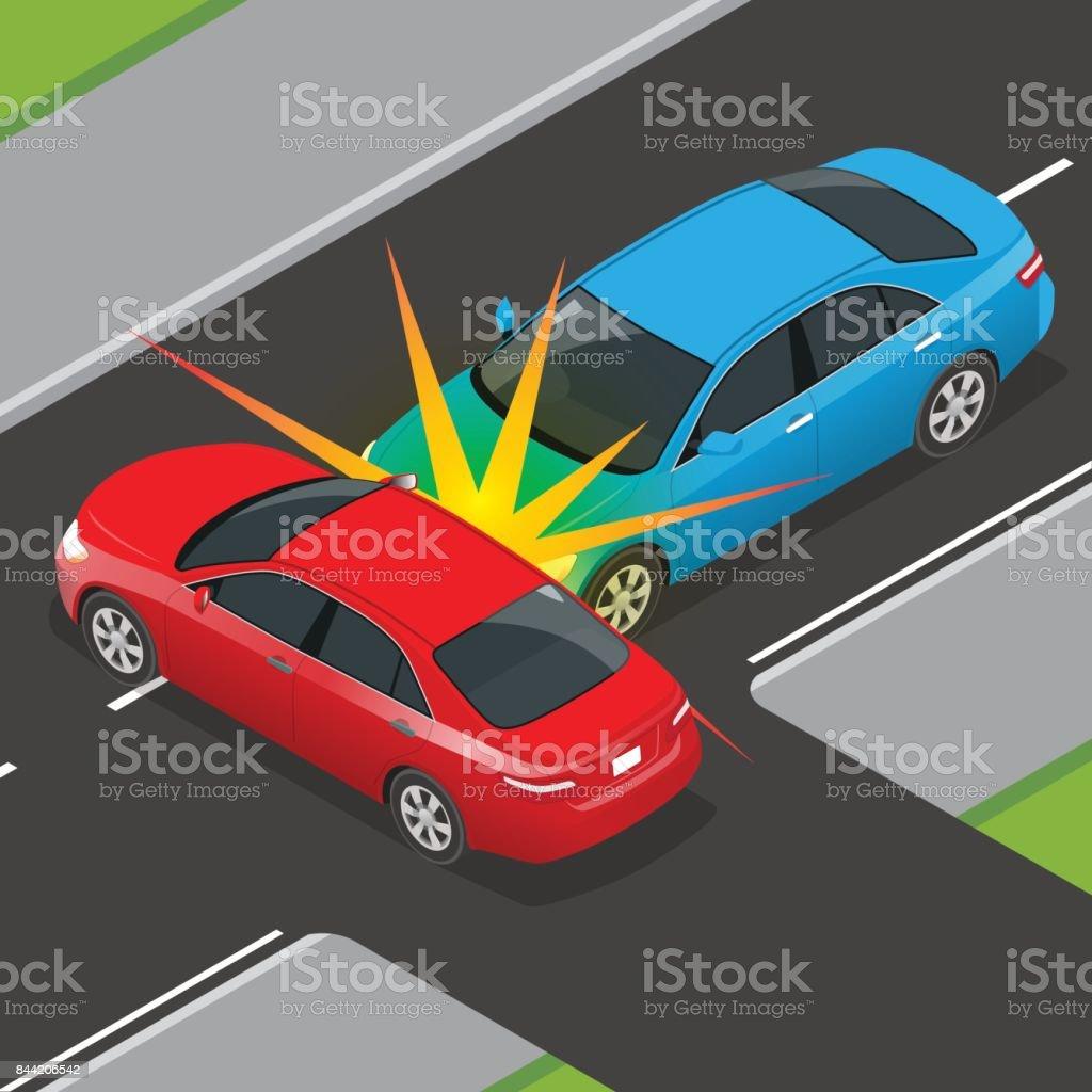 Isometrische Verkehrsunfall Mit Zwei Fahrzeugen Auf Der Straße Auto ...