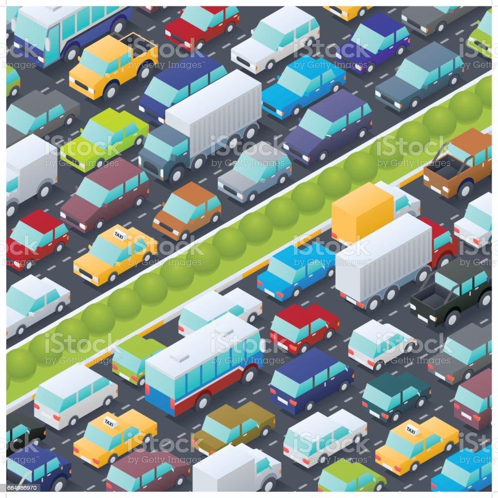 isometric traffic jam vector art illustration