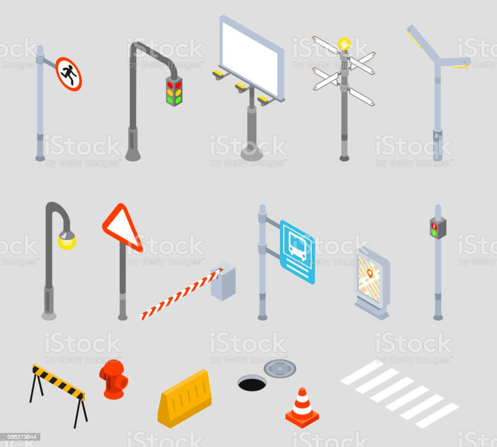 Isometric traffic management. Urban 3D vector icons vector art illustration