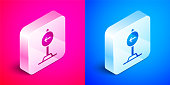 istock Isometric Traffic sign turn left warning attention icon isolated on pink and blue background. Traffic rules and safe driving. Silver square button. Vector 1320176509