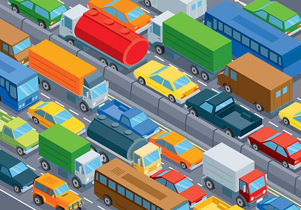 illustrazioni stock, clip art, cartoni animati e icone di tendenza di isometrica, traffico - queue
