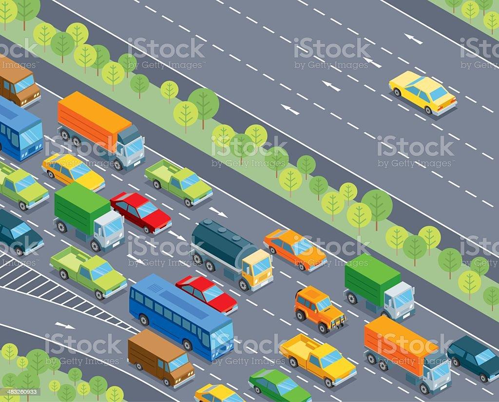 Isometric, traffic vector art illustration