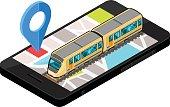 Isometric train locator map icon.