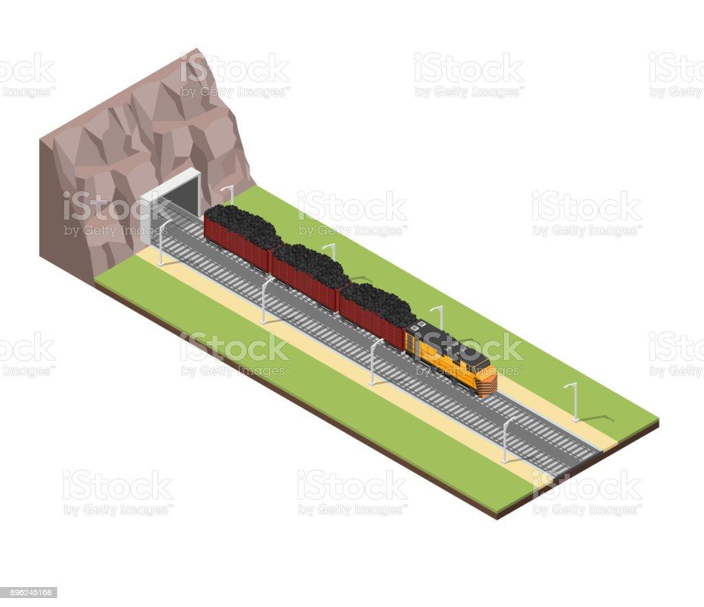 Isometric train railroad coal vector illustration background vector art illustration