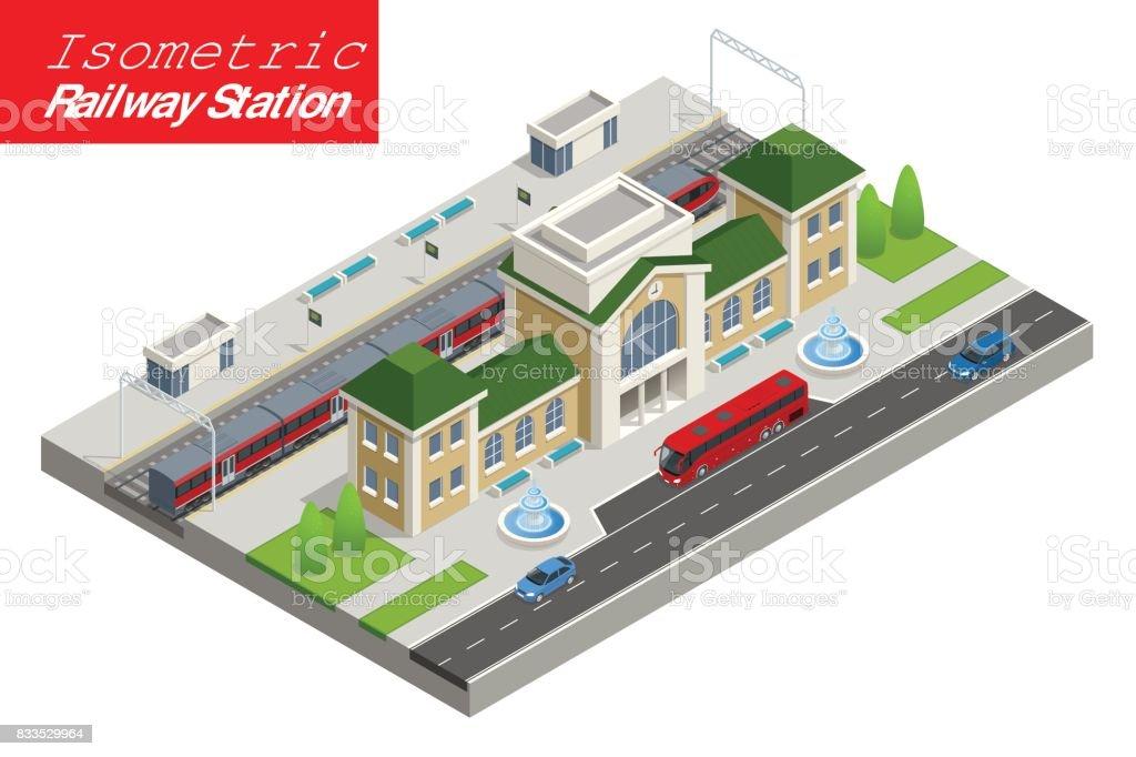 isometric Train Station building with passenger trains, platform. vector art illustration