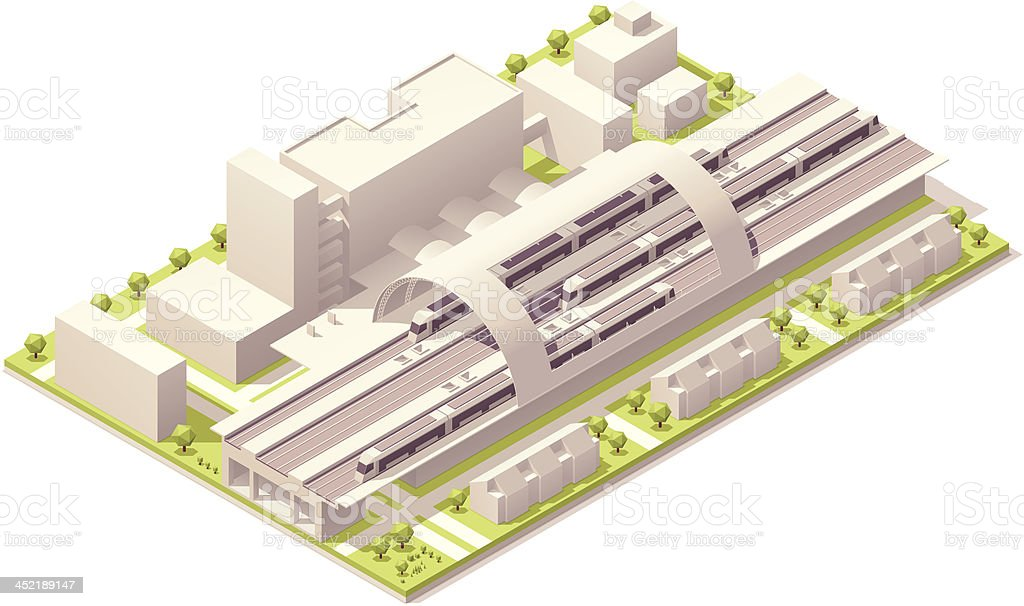 Isometric train station vector art illustration