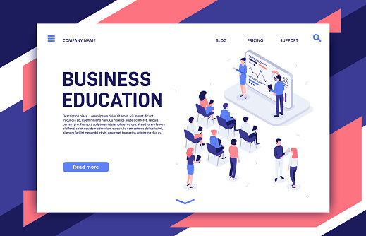 Isometric training. Business team professional education trainings, teambuilding teacher and motivation lecture vector illustration