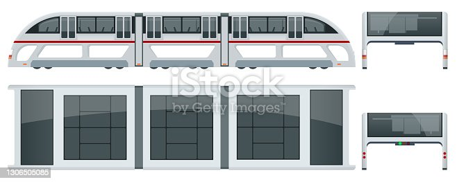 istock Isometric Transit Elevated Bus in China. Straddling bus, straddle bus, land airbus, or tunnel bus Road vehicle designed to carry many passengers. Side, top, front and back views 1306505085