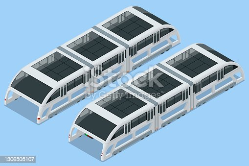 istock Isometric Transit Elevated Bus in China. Straddling bus, straddle bus, land airbus, or tunnel bus Road vehicle designed to carry many passengers. 1306505107
