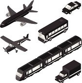 A vector illustration of various isometric modern vehicles for commercial, tourism and business travel.
