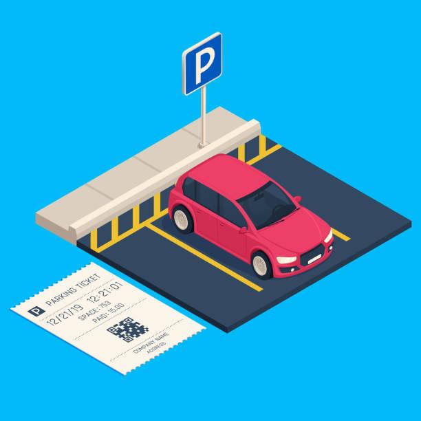 illustrations, cliparts, dessins animés et icônes de stationnement de transport isométrique. billet d'entrée de parking, illustration vectorielle de ville urbain voiture garage - gare