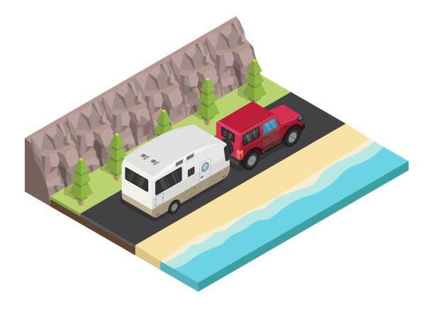 stockillustraties, clipart, cartoons en iconen met isometrische reizen camper trailer buiten met bergen kleurrijke vector toerisme set. - caravan