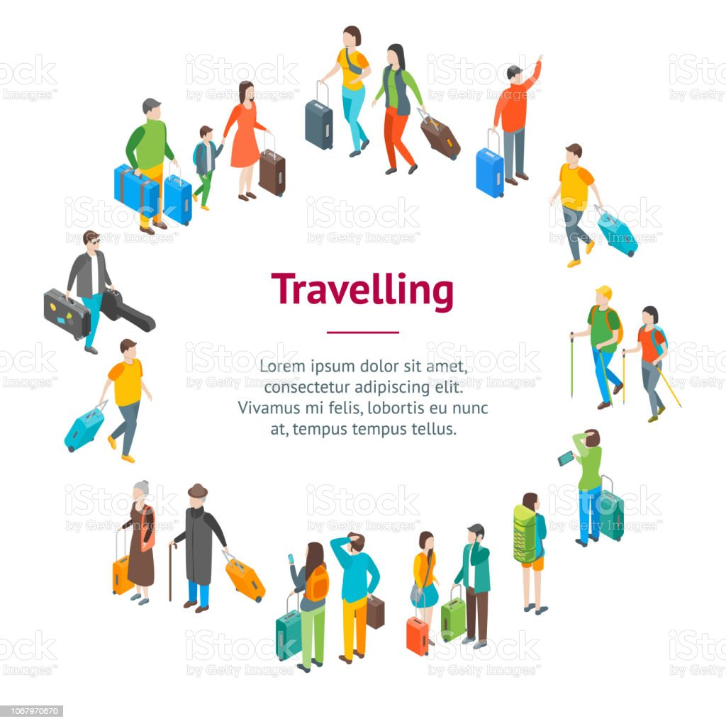 Isometric Travel People Characters Banner Card Circle. Vector vector art illustration