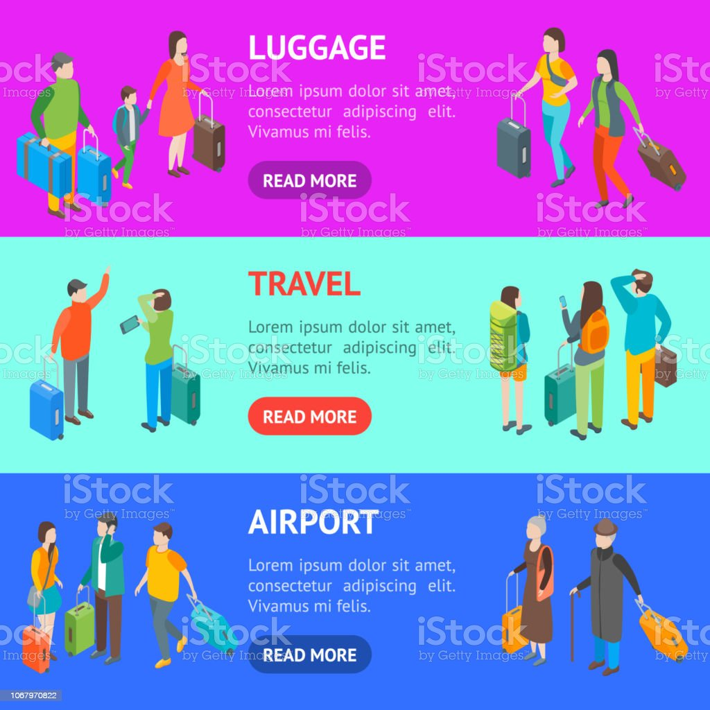 Isometric Travel People Characters Banner Horizontal Set. Vector vector art illustration
