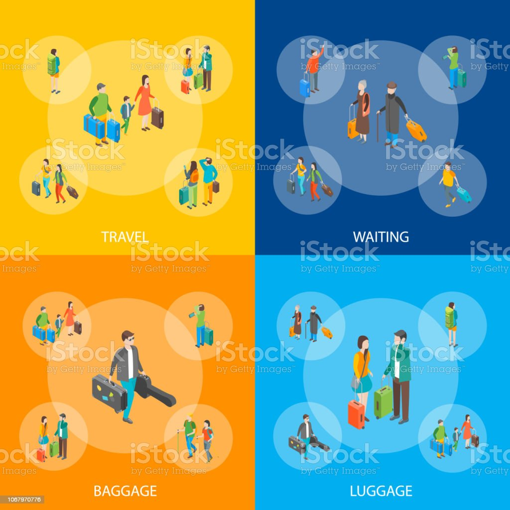 Isometric Travel People Characters Banner Set. Vector vector art illustration