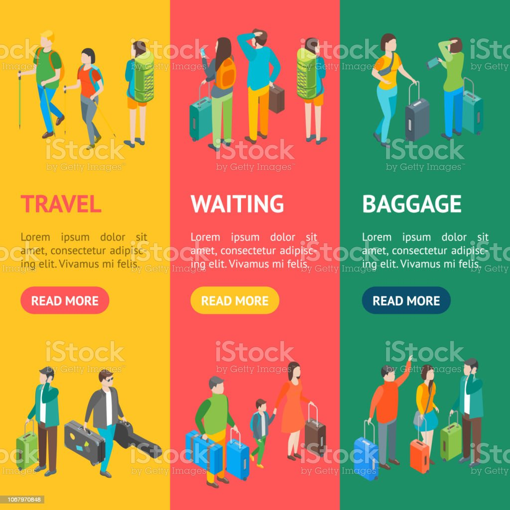 Isometric Travel People Characters Banner Vecrtical Set. Vector vector art illustration